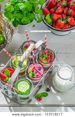 Healthy Smoothie With Fruity Yogurt On Old White Table