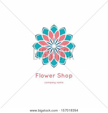 Decorative flower element. Ornamental vector symbols. Circle colorful icon. Isolated abstract colorful vector logo. Vector vintage mandala logo. Kaleidoscope flower.