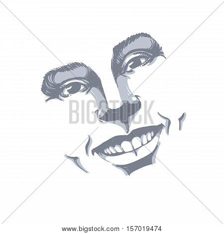 Facial Expression, Hand-drawn Illustration Of Face Of A Girl With Positive Emotional Expressions. Be