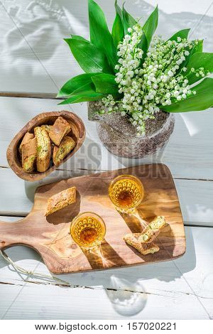 Delicious Cantucci With Peanut On Old Wooden Table