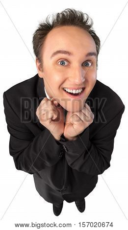Excited Young Man In Suit Top-down View - Isolated