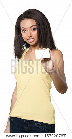 Friendly Young Woman Holding Blank Businesscard - Isolated