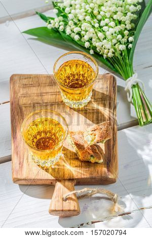 Sweet Cantucci With Peanut On Old Wooden Table