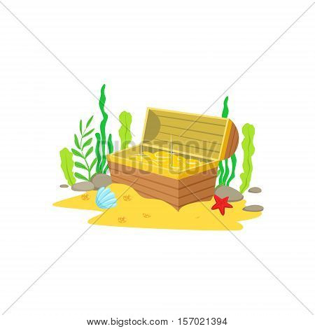 Open Chest With Golden Treasure Inside Laying At The Sandy Sea Floor Surrounded By Algae And Underwater Marine Animals. Wooden Pirate Coffer Fuul With Gold Coins Cartoon Vector Illustration.