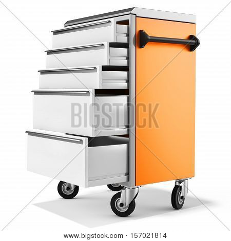 Mobile Tool Cabinet With Open Drawers
