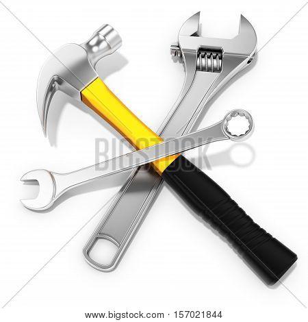 Steel Hammer, Spanner And  Adjustable Spanner