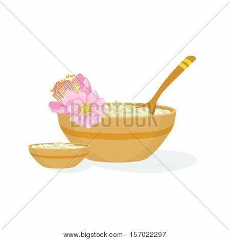 Bowl With Handmade Natural Cosmetic Product For Skincare Element Of Spa Center Health And Beauty Procedures Collection Of Illustrations. Realistic Vector Objects Symbols Of Beautifying Treatments On White Background.