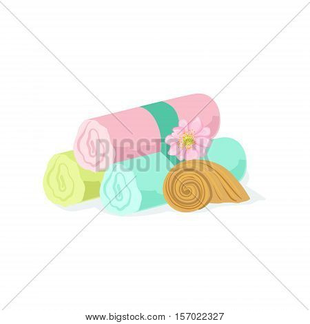 Three Pastel Color Towel Rolls Piled Mext To Shell And Flower Element Of Spa Center Health And Beauty Procedures Collection Of Illustrations. Realistic Vector Objects Symbols Of Beautifying Treatments On White Background.