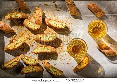 Tough And Sweet Cantucci With Peanut On Old Wooden Table