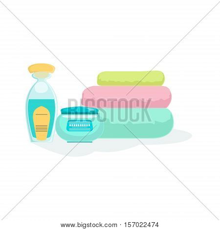 Three Folded Towels And Skin Products Element Of Spa Center Health And Beauty Procedures Collection Of Illustrations. Realistic Vector Objects Symbols Of Beautifying Treatments On White Background.