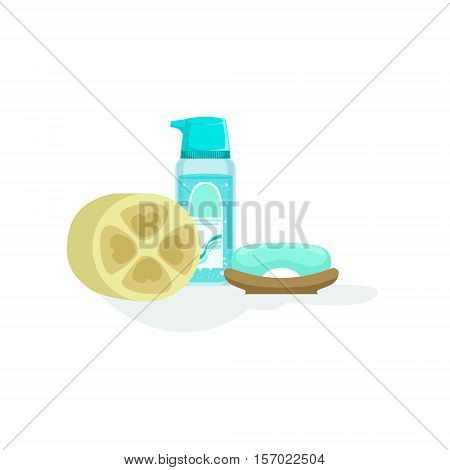 Skin Cleansing Soap And Lotion And A Natural Sponge Element Of Spa Center Health And Beauty Procedures Collection Of Illustrations. Realistic Vector Objects Symbols Of Beautifying Treatments On White Background.