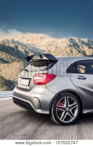 Romania, Brasov Sept 16, 2014 : Mercedes-Benz A 45 2014 AMG test drive on Sept 16 2014 in Romania.
