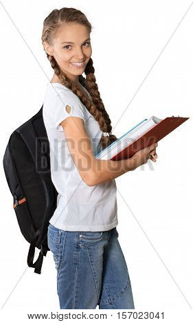 Friendly Girl with Rucksack Standing and Holding Book and Clipboard - Isolated