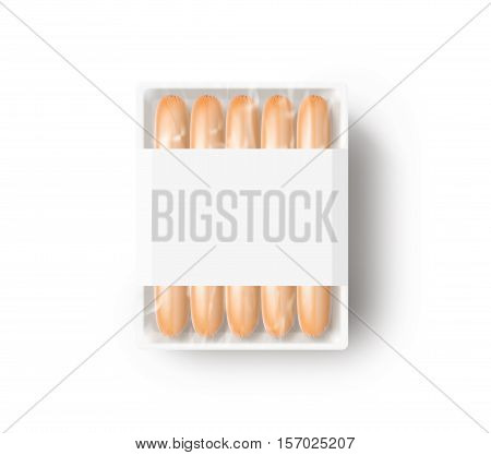 Sausage in blank white plastic disposable box mockup isolated clipping path 3d rendering. Weenie packaging design mock up. Snack thin polythene pouch template.