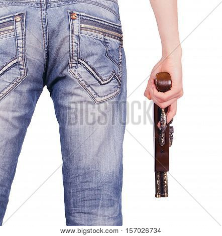a man with a gun in his hand rear view isolated on white background