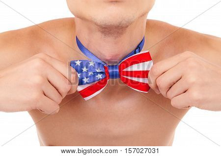 butterfly tie American flag independence day on the neck men holding hands