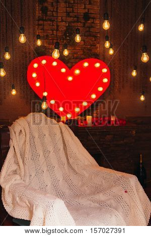Muffled Light. Red Hearts. Valentines Day