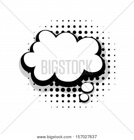 Blank template funny comic speech cloud bubble halftone dot background style pop art. Comic dialog empty cloud, space text style pop art. Creative composition idea conversation comic sketch explosion