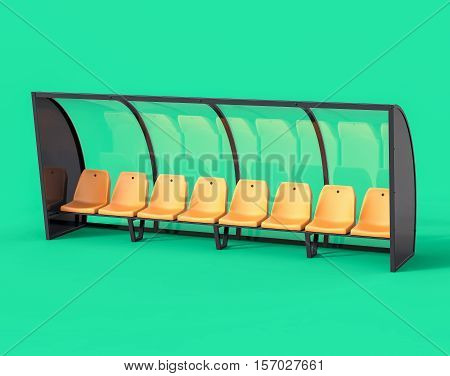 3D Isolated Yellow Football Soccer Bench. Sport Substitute Trainer.