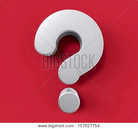 3D Isolated Silver Question Mark. Doubt Solution Support Concept.