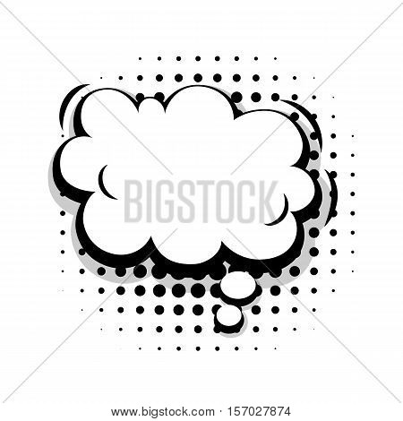 Blank template fun  comic speech cloud bubble halftone dot background style pop art. Comic dialog empty cloud, space text style pop art. Creative composition idea conversation comic sketch explosion