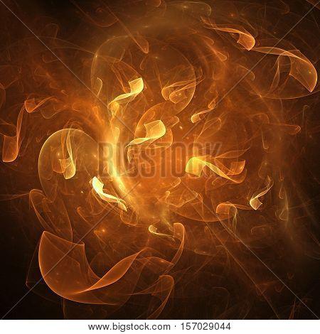 Beautiful orange ribbon in a fiery movement for art projects