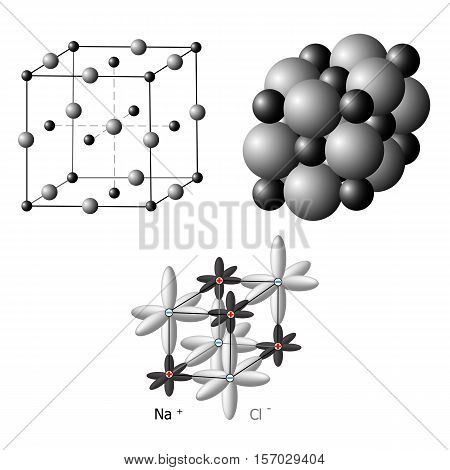 Illustration of an ionic crystal structure of sodium chloride, NaCl