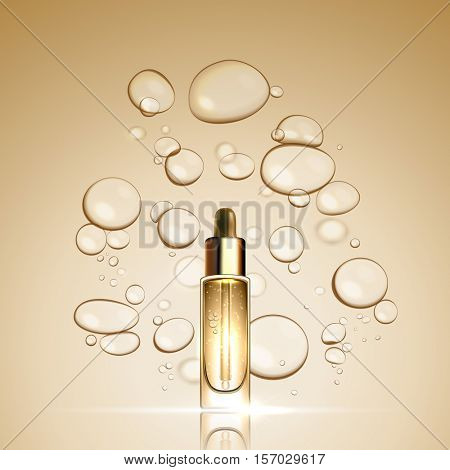 3D Gold serum  essence oil bottle on bubble liquid effect background. Premium skincare treatment ad concept template. Vector gold water oil bubbles illustration