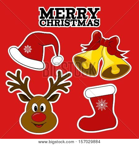 Christmas symbols. Stickers. Card with Santa's hat, christmas stocking, jingle bells, Rudolph. Christmas gifts