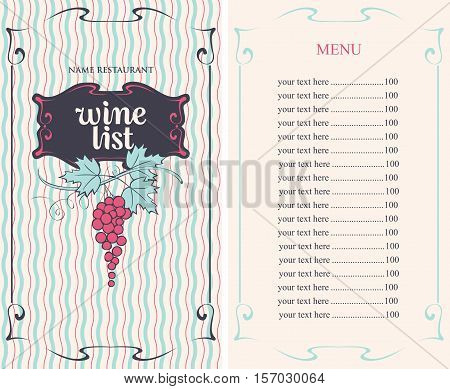 Wine list menu with grapes and Price