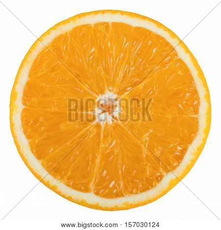 Orange fruit round slice isolated on white background