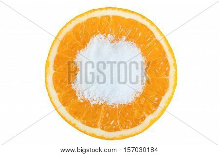 Orange fruit round slice with salt isolated on white background