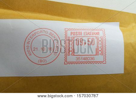 INTERPORTO BENTIVOGLIO BOLOGNA ITALY - CIRCA OCTOBER 2016: letter envelope with red ink postage meter from Italy