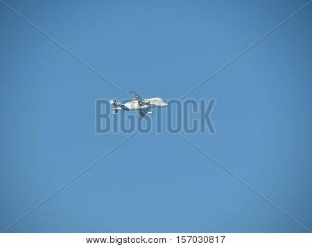 HAMBURG GERMANY - CIRCA NOVEMBER 2016: Airbus A300-600ST (Super Transporter) aka Beluga flying