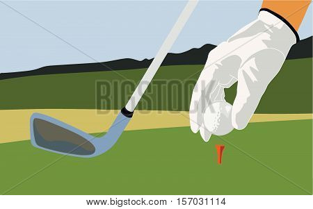 The player places a golf ball and putter.