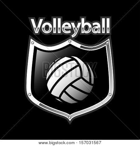 Illustration emblem volleyball as a sport icons on black background.
