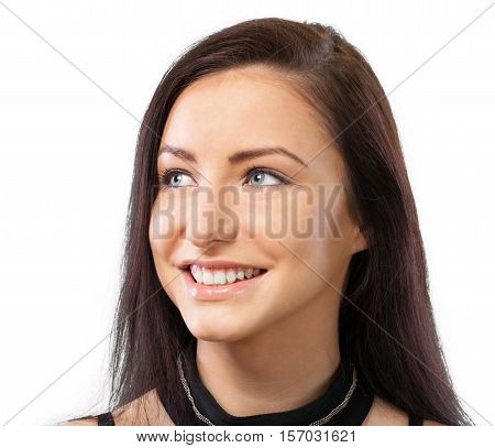 Portrait of a Beautiful Smiling Young Woman Looking Sideways