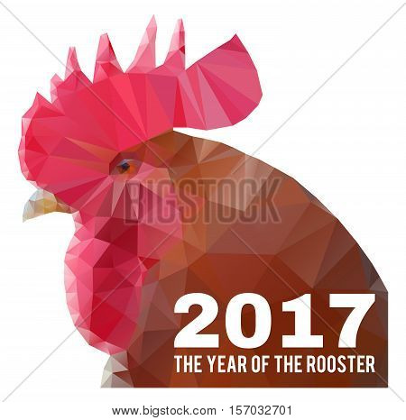 chinese new year 2017 - the year of the rooster triangular geometric polygonal head of with text vector illustration