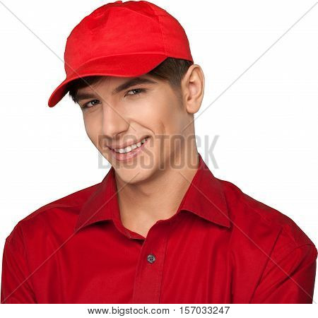 Portrait of a Smiling Young Man with Baseball Cap