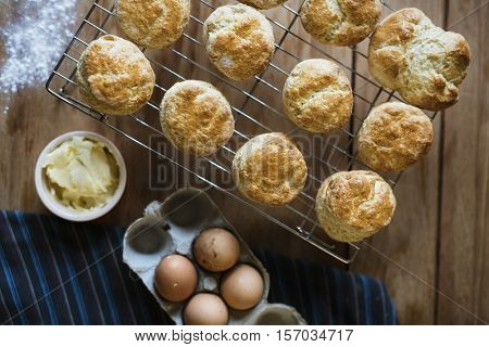 Baked Scone Pastry Eggs Bakery Concept