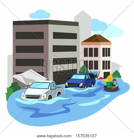 Vector of flooded city car and people evacuate.