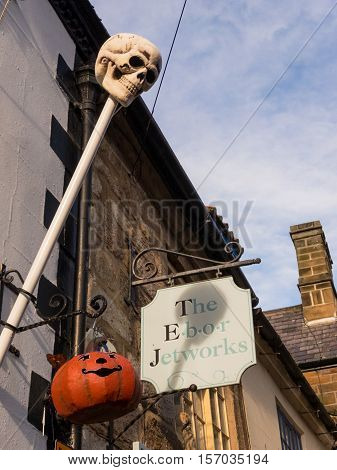 WHITBY ENGLAND - NOVEMBER 5: Halloween decorations on exterior of Ebor Jetworks Whitby. In Whitby North Yorkshire England. On 5th November 2016.