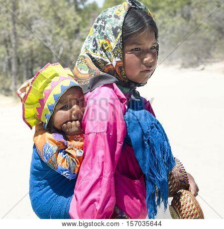 Portrait of young Tarahumara native girls. April 28 2011 - Creel Chihuahua Mexico