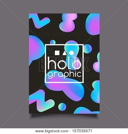 Holographic neon bright poster on black background