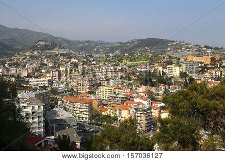 Sanremo or San Remo on Italian coast areal view Imperia Liguria Italy