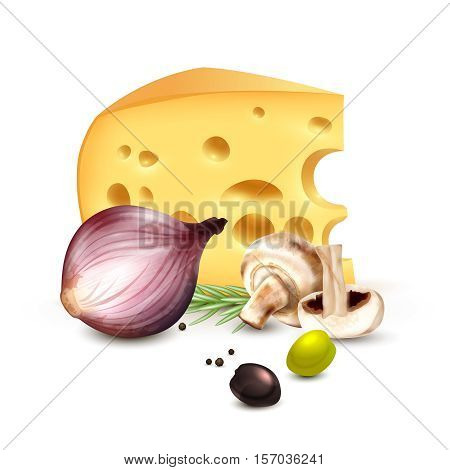 Chunk of cheese with red onion champignons rosemary and olives realistic mediterranean culinary background poster vector illustration