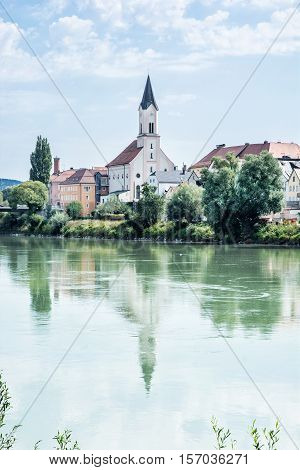 Saint Gertraud church in Passau Germany. Cultural heritage. Religious architecture. Beautiful place. Old houses. Architectural theme.