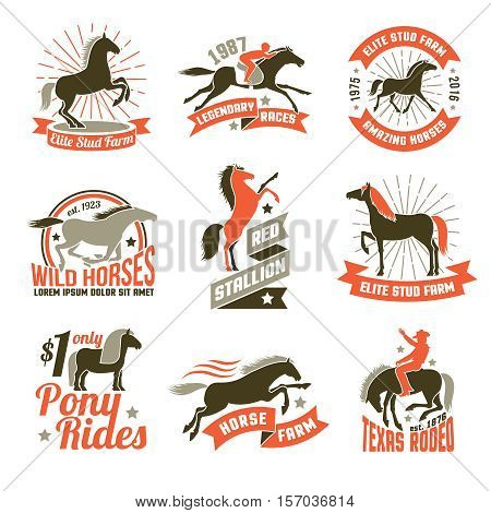 Elite stud farms for horses breeding and jockey clubs historical racing three colored emblems collection isolated vector illustration