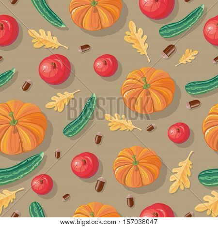 Autumn harvest conceptual vector seamless pattern. Flat design. Ripe pumpkins, zucchini, apples, acorns, oak leaves on yellow-brown background. Vegetable ornament. For wrapping, printings, grocery ad