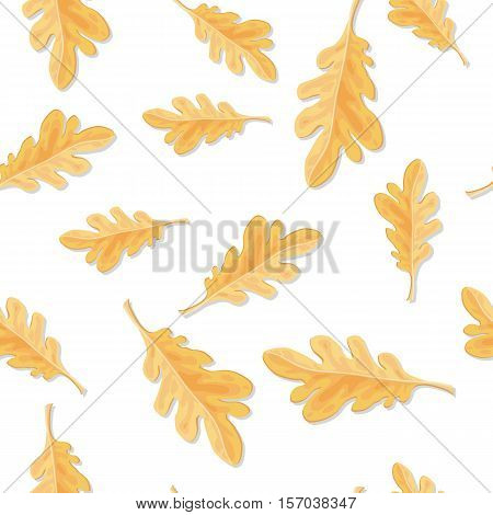 Seamless pattern with qutumn oak leaves isolated. Fallen leaf of oak tree endless texture. Autumn season. Fall concept. Botany element in flat style. Wallpaper foliage. Serrated or entire leaf. Vector poster